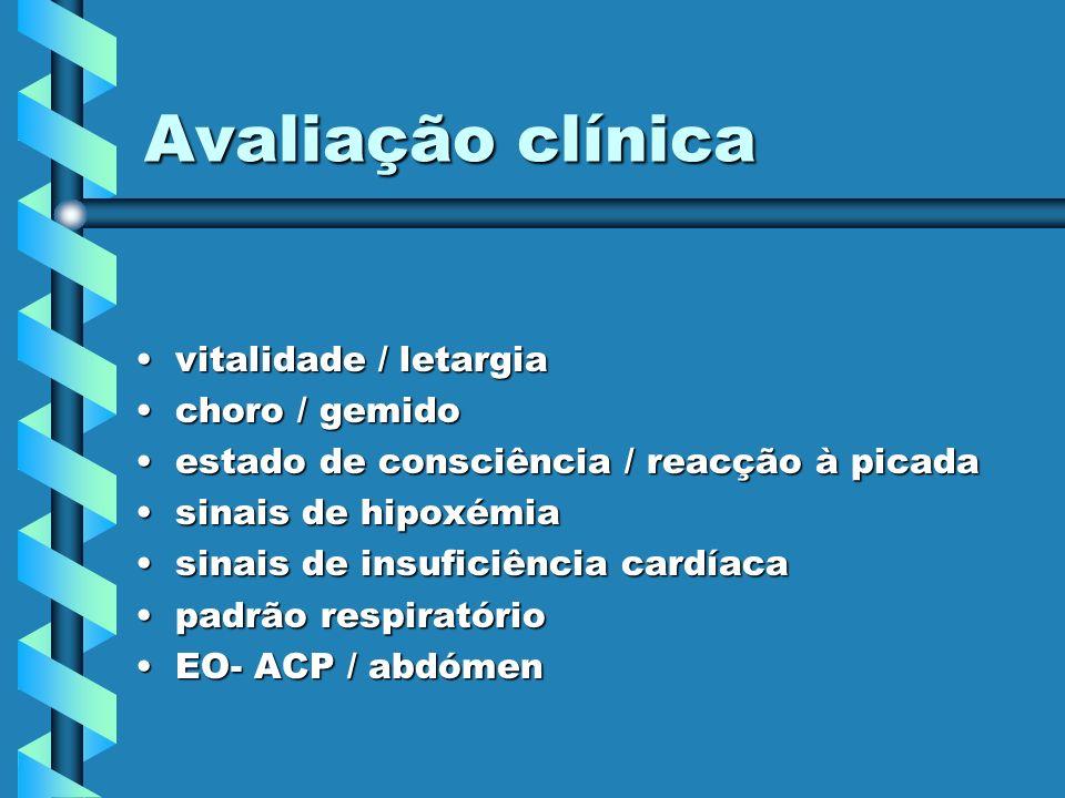 Avaliação clínica vitalidade / letargiavitalidade / letargia choro / gemidochoro / gemido estado de consciência / reacção à picadaestado de consciênci