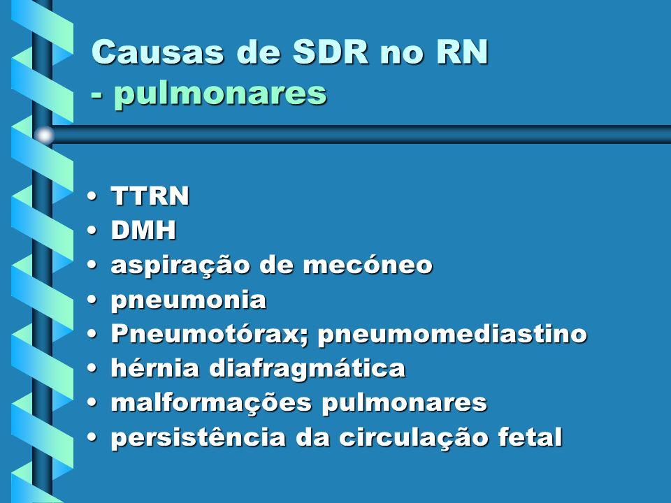 Causas de SDR no RN - pulmonares TTRNTTRN DMHDMH aspiração de mecóneoaspiração de mecóneo pneumoniapneumonia Pneumotórax; pneumomediastinoPneumotórax;