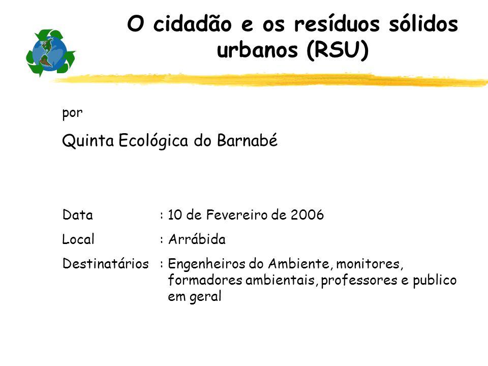 por Quinta Ecológica do Barnabé Data: 10 de Fevereiro de 2006 Local: Arrábida Destinatários: Engenheiros do Ambiente, monitores, formadores ambientais