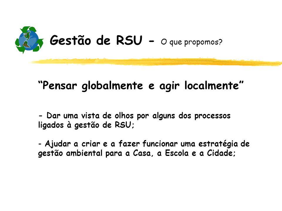 Gestão de RSU - O que propomos? Pensar globalmente e agir localmente - Dar uma vista de olhos por alguns dos processos ligados à gestão de RSU; - Ajud