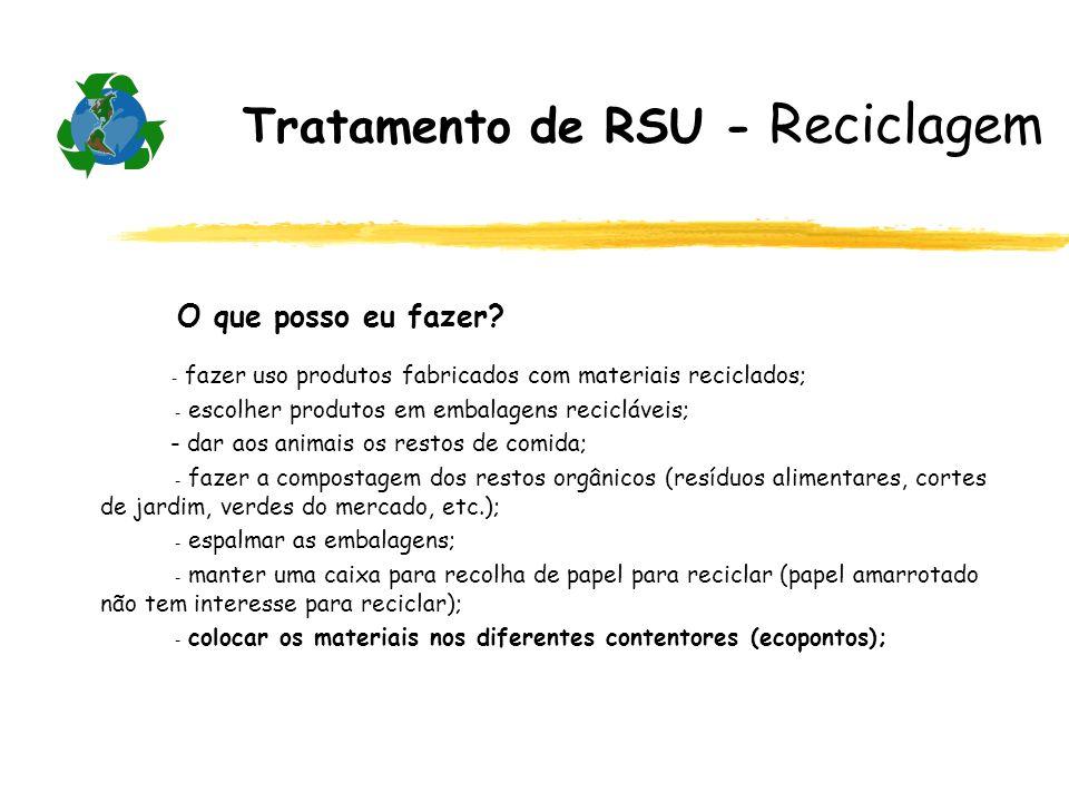 Tratamento de RSU - Reciclagem O que posso eu fazer? - fazer uso produtos fabricados com materiais reciclados; - escolher produtos em embalagens recic