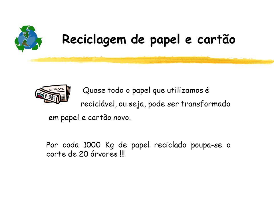 Reciclagem de papel e cartão Quase todo o papel que utilizamos é reciclável, ou seja, pode ser transformado em papel e cartão novo. Por cada 1000 Kg d