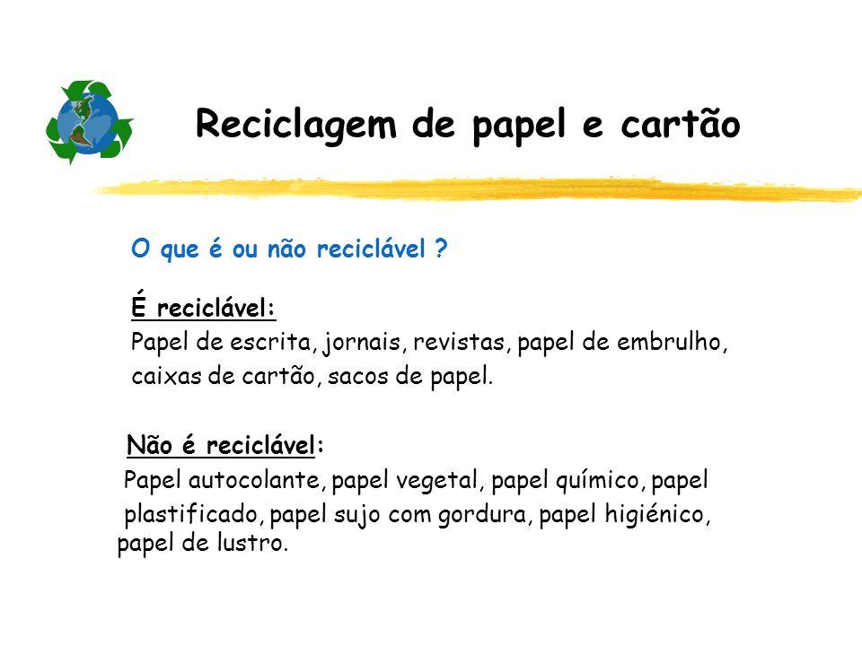 Reciclagem de papel e cartão O que é ou não reciclável ? É reciclável: Papel de escrita, jornais, revistas, papel de embrulho, caixas de cartão, sacos
