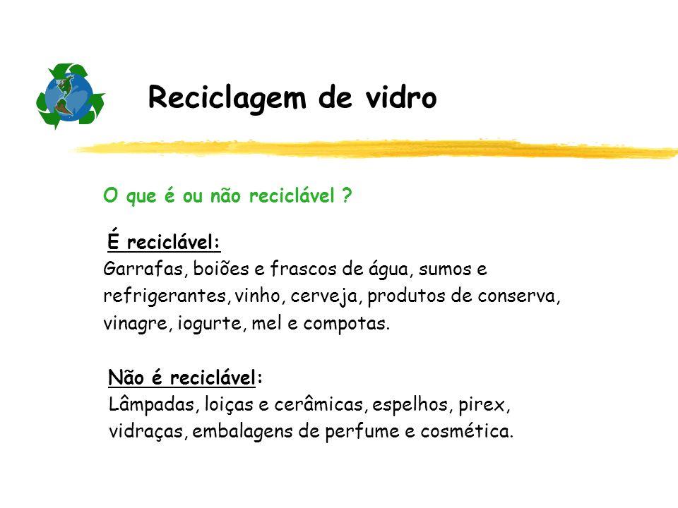 Reciclagem de vidro O que é ou não reciclável ? É reciclável: Garrafas, boiões e frascos de água, sumos e refrigerantes, vinho, cerveja, produtos de c