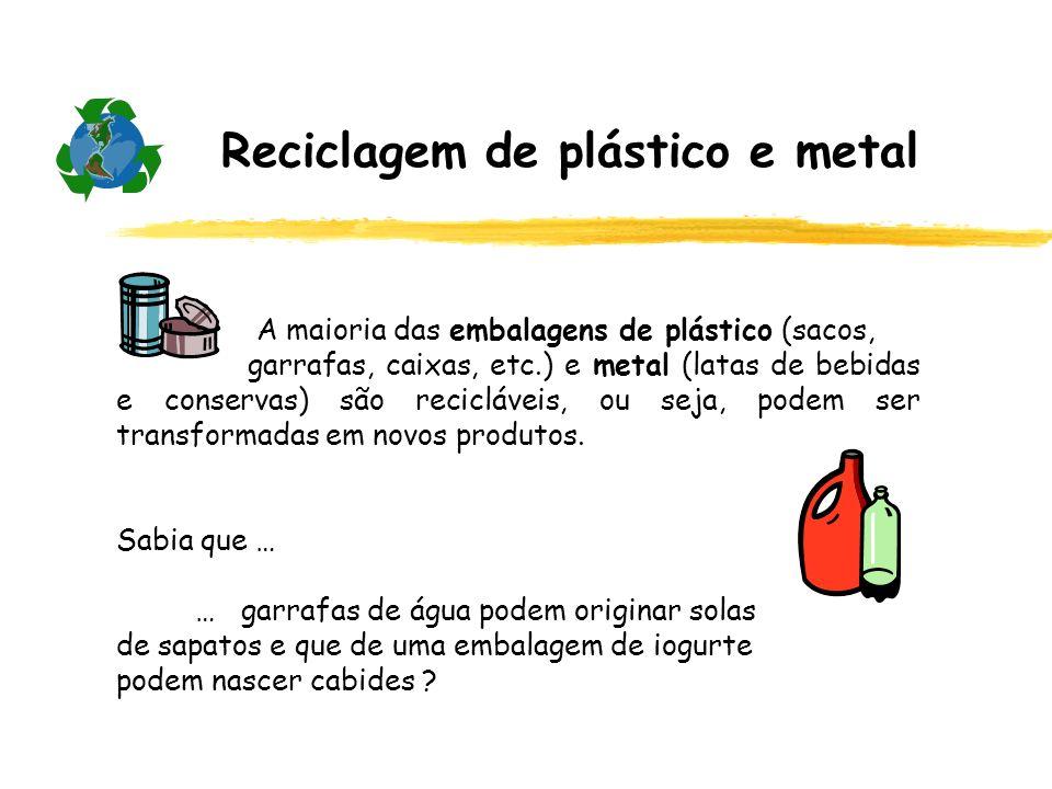 Reciclagem de plástico e metal A maioria das embalagens de plástico (sacos, garrafas, caixas, etc.) e metal (latas de bebidas e conservas) são reciclá