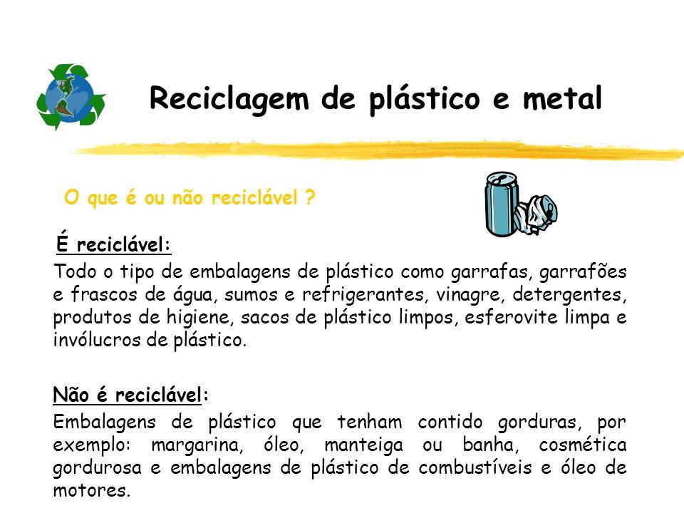 Reciclagem de plástico e metal O que é ou não reciclável ? É reciclável: Todo o tipo de embalagens de plástico como garrafas, garrafões e frascos de á