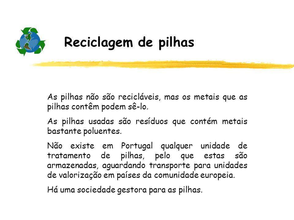 Reciclagem de pilhas As pilhas não são recicláveis, mas os metais que as pilhas contêm podem sê-lo. As pilhas usadas são resíduos que contém metais ba