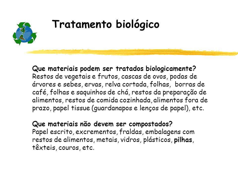 Tratamento biológico Que materiais podem ser tratados biologicamente? Restos de vegetais e frutos, cascas de ovos, podas de árvores e sebes, ervas, re