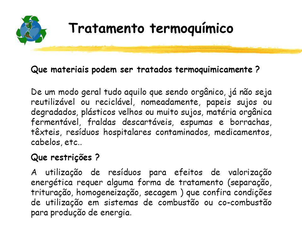 Que materiais podem ser tratados termoquimicamente ? De um modo geral tudo aquilo que sendo orgânico, já não seja reutilizável ou reciclável, nomeadam