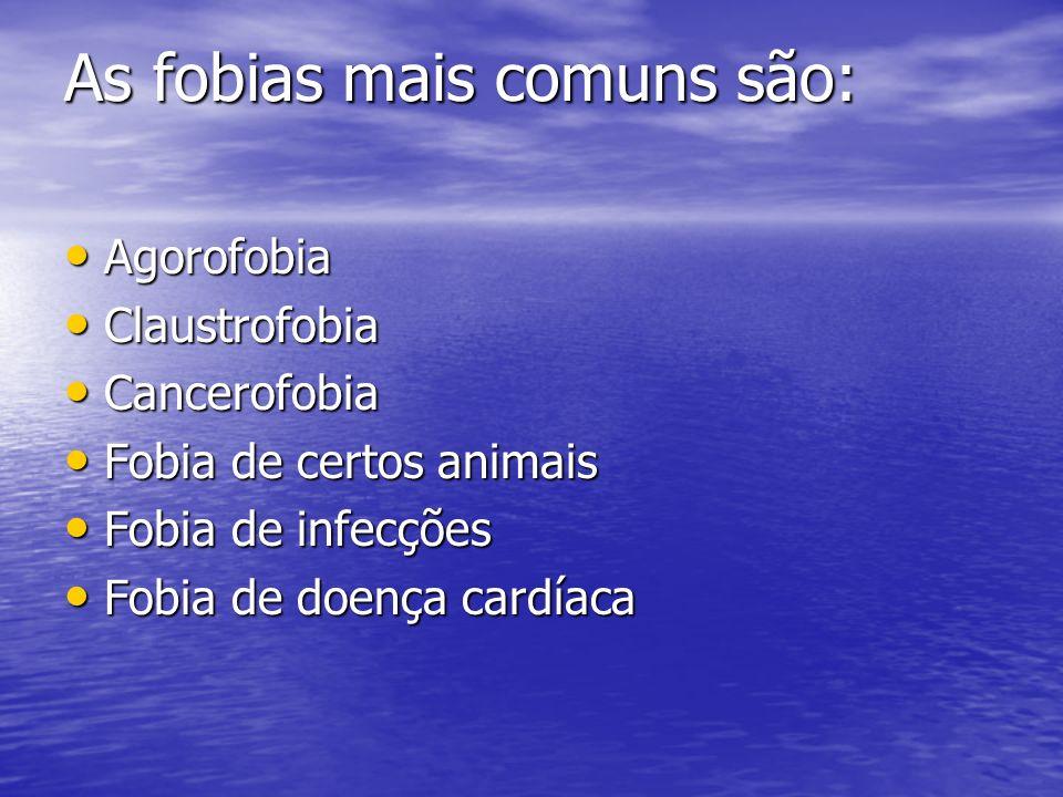 As fobias mais comuns são: Agorofobia Agorofobia Claustrofobia Claustrofobia Cancerofobia Cancerofobia Fobia de certos animais Fobia de certos animais