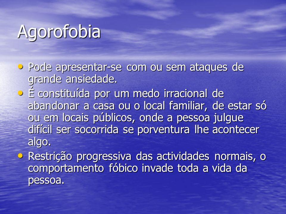 Agorofobia Pode apresentar-se com ou sem ataques de grande ansiedade. Pode apresentar-se com ou sem ataques de grande ansiedade. É constituída por um