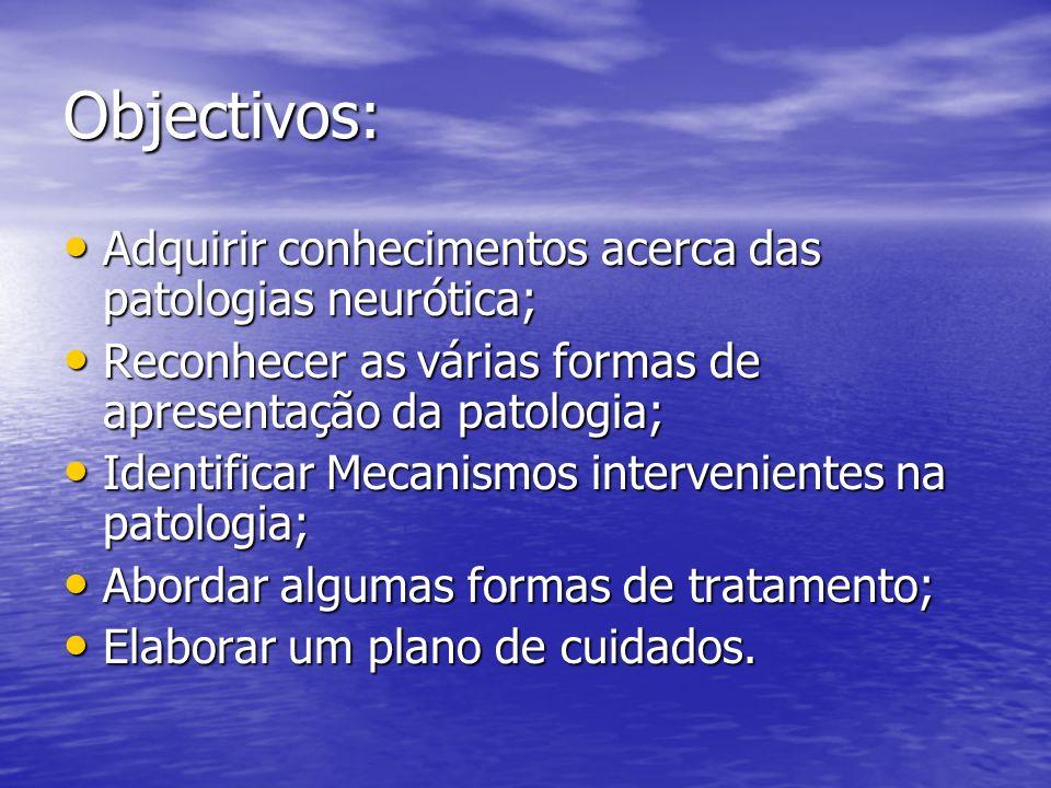 Objectivos: Adquirir conhecimentos acerca das patologias neurótica; Adquirir conhecimentos acerca das patologias neurótica; Reconhecer as várias forma