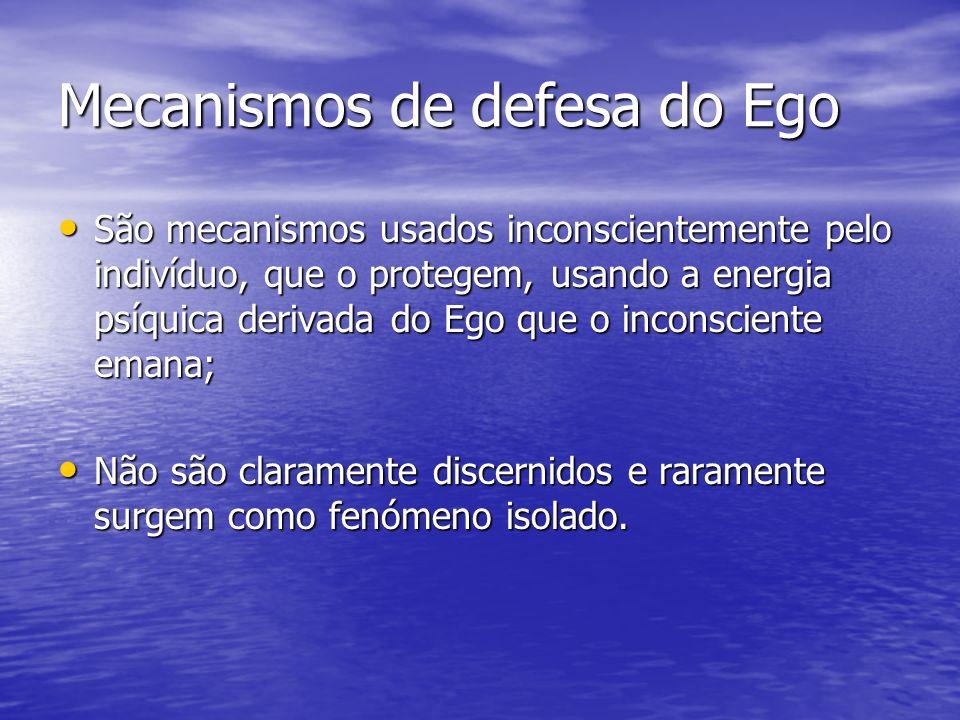 Mecanismos de defesa do Ego São mecanismos usados inconscientemente pelo indivíduo, que o protegem, usando a energia psíquica derivada do Ego que o in