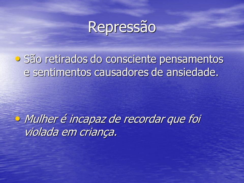 Repressão São retirados do consciente pensamentos e sentimentos causadores de ansiedade. São retirados do consciente pensamentos e sentimentos causado