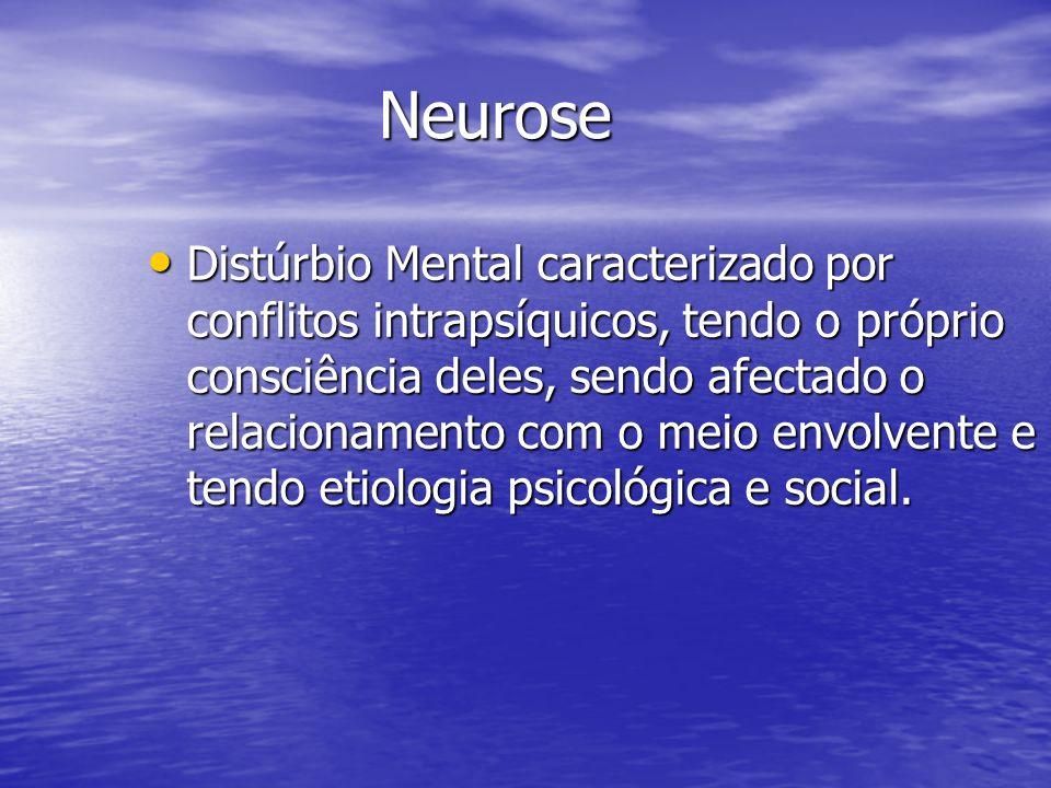 Neurose Distúrbio Mental caracterizado por conflitos intrapsíquicos, tendo o próprio consciência deles, sendo afectado o relacionamento com o meio env