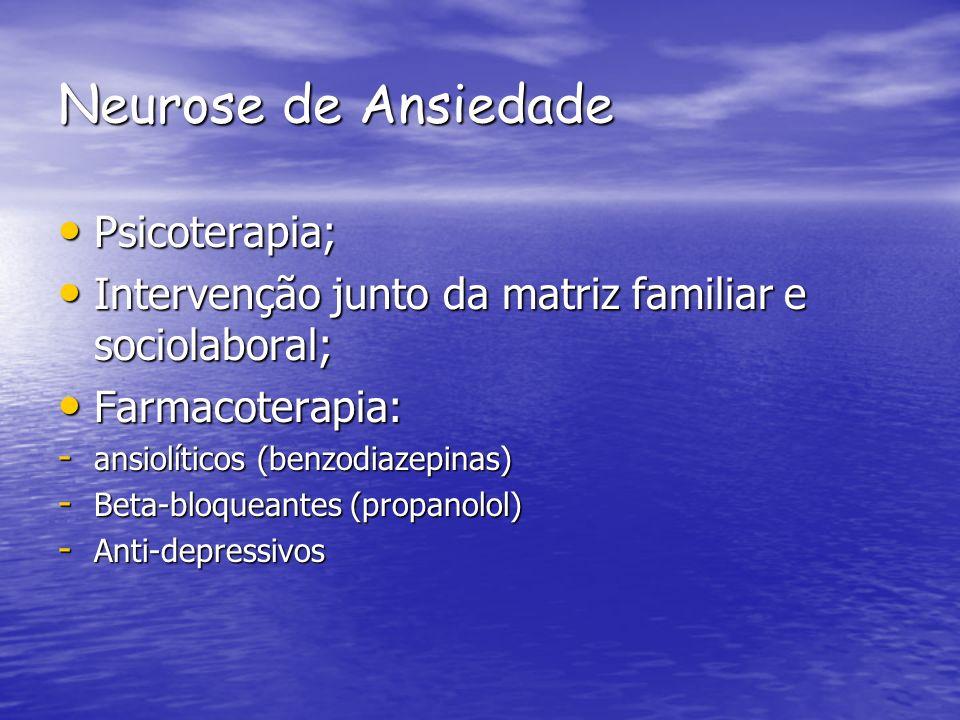 Neurose de Ansiedade Psicoterapia; Psicoterapia; Intervenção junto da matriz familiar e sociolaboral; Intervenção junto da matriz familiar e sociolabo