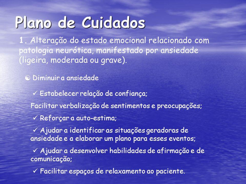 Plano de Cuidados 1. Alteração do estado emocional relacionado com patologia neurótica, manifestado por ansiedade (ligeira, moderada ou grave). Estabe