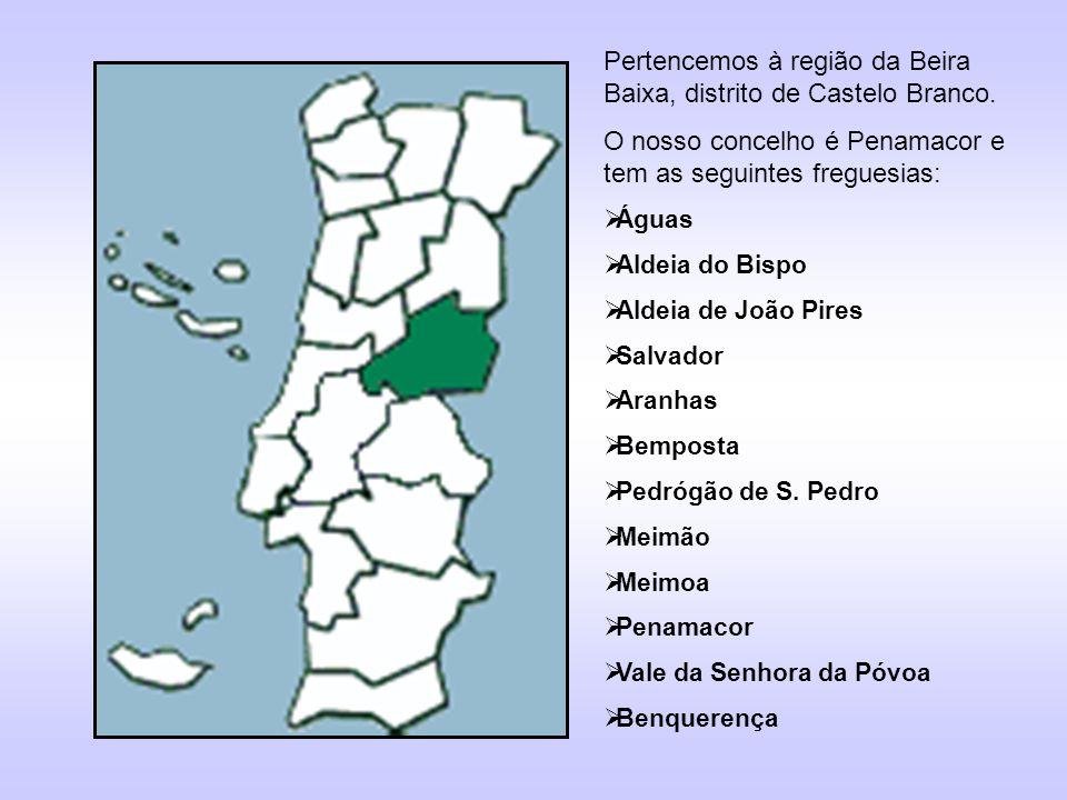 Pertencemos à região da Beira Baixa, distrito de Castelo Branco. O nosso concelho é Penamacor e tem as seguintes freguesias: Águas Aldeia do Bispo Ald