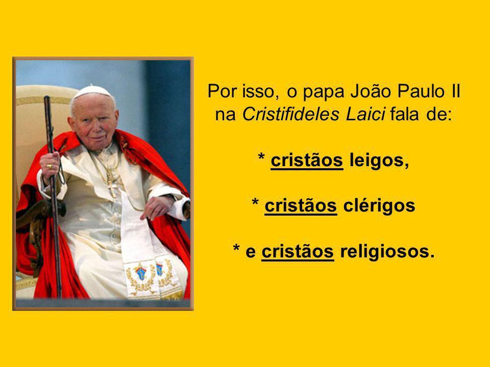 Por isso, o papa João Paulo II na Cristifideles Laici fala de: * cristãos leigos, * cristãos clérigos * e cristãos religiosos.