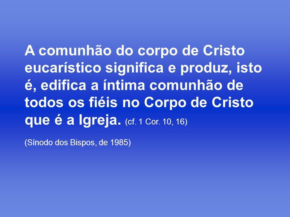 A comunhão do corpo de Cristo eucarístico significa e produz, isto é, edifica a íntima comunhão de todos os fiéis no Corpo de Cristo que é a Igreja. (