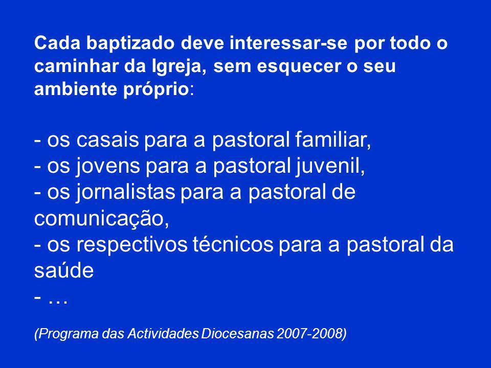 Cada baptizado deve interessar-se por todo o caminhar da Igreja, sem esquecer o seu ambiente próprio: - os casais para a pastoral familiar, - os joven