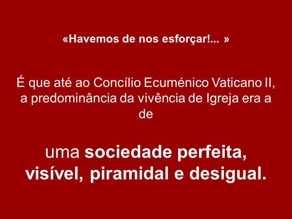 «Havemos de nos esforçar!... » É que até ao Concílio Ecuménico Vaticano II, a predominância da vivência de Igreja era a de uma sociedade perfeita, vis