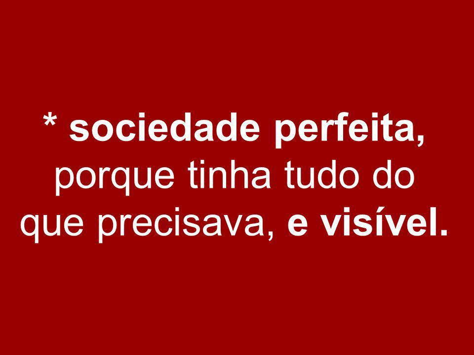 * sociedade perfeita, porque tinha tudo do que precisava, e visível.