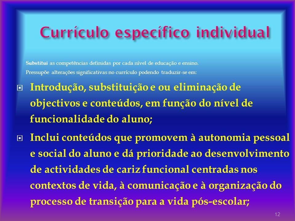 Substitui as competências definidas por cada nível de educação e ensino. Pressupõe alterações significativas no currículo podendo traduzir-se em: Intr