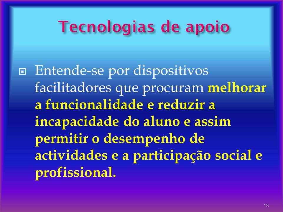 Entende-se por dispositivos facilitadores que procuram melhorar a funcionalidade e reduzir a incapacidade do aluno e assim permitir o desempenho de ac