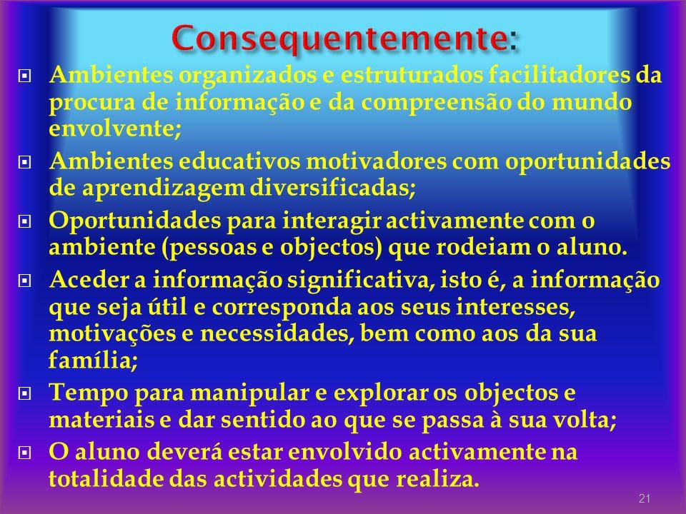 Ambientes organizados e estruturados facilitadores da procura de informação e da compreensão do mundo envolvente; Ambientes educativos motivadores com