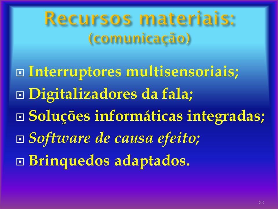 Interruptores multisensoriais; Digitalizadores da fala; Soluções informáticas integradas; Software de causa efeito; Brinquedos adaptados. 23