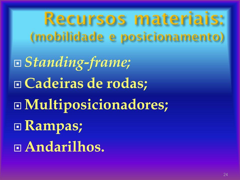 Standing-frame; Cadeiras de rodas; Multiposicionadores; Rampas; Andarilhos. 24