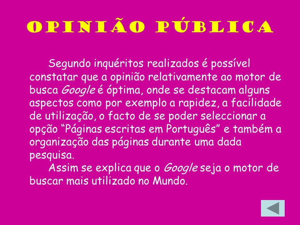 Opinião Pública Segundo inquéritos realizados é possível constatar que a opinião relativamente ao motor de busca Google é óptima, onde se destacam alg