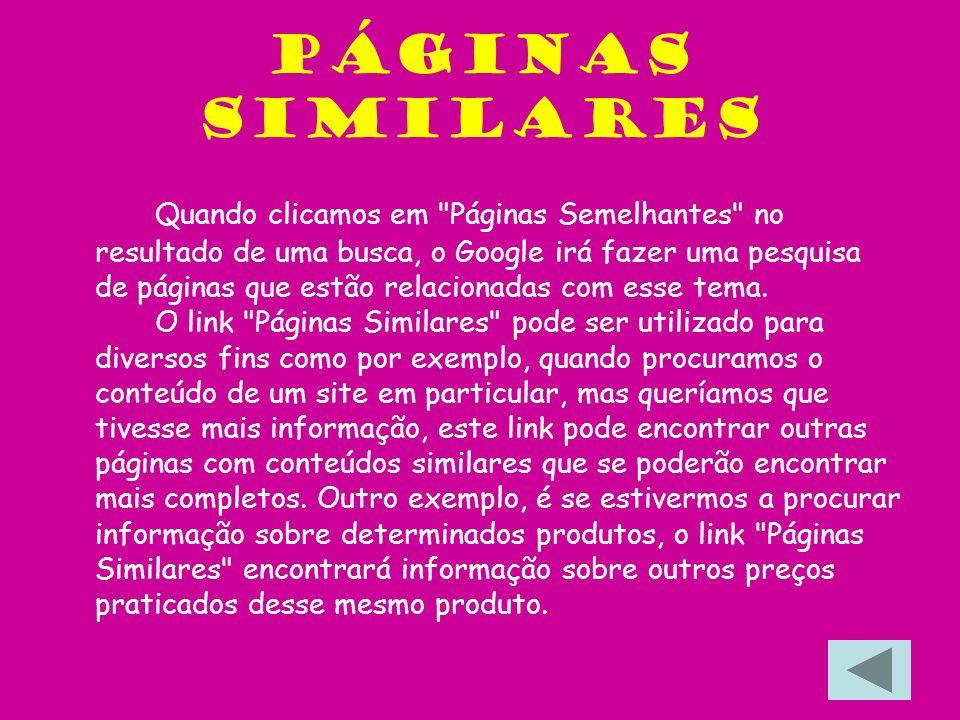 Pesquisa de imagens Para se aceder à pesquisa de imagens através do Google ir à página de pesquisa avançada ou http://www.imagens.google.com e colocar a expressão que queremos pesquisar na caixa de busca de imagens, e clicamos Enter.