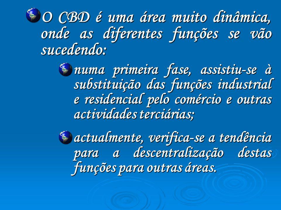 O CBD é uma área muito dinâmica, onde as diferentes funções se vão sucedendo: numa primeira fase, assistiu-se à substituição das funções industrial e