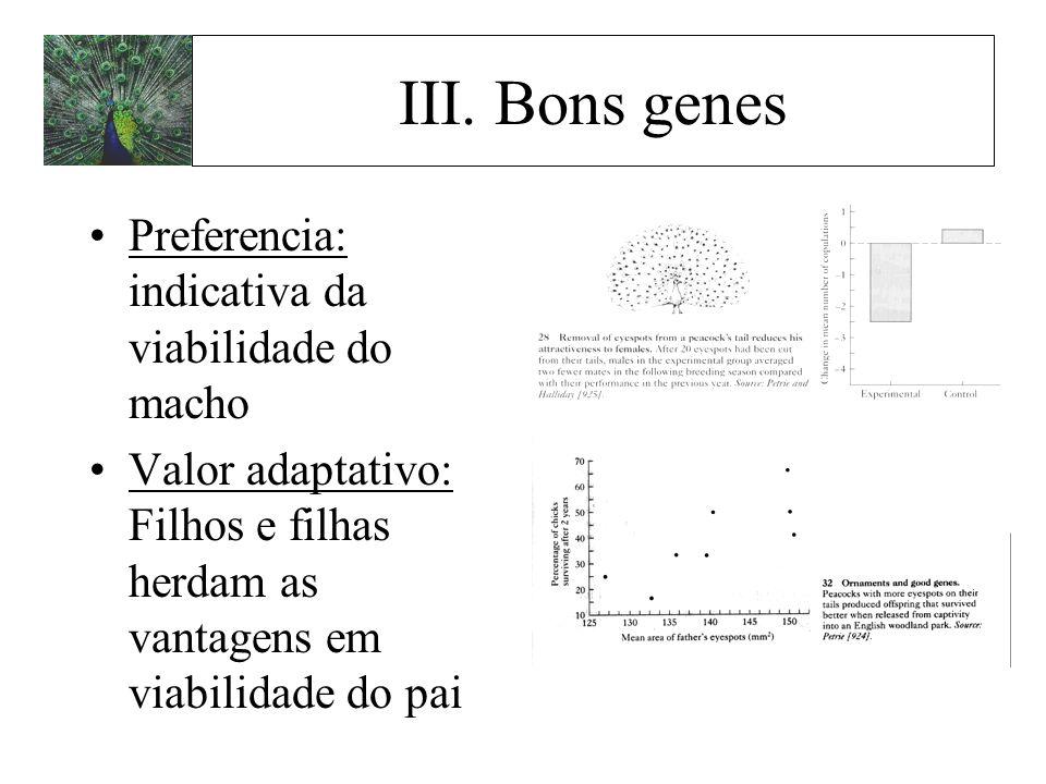 Preferencia: indicativa da viabilidade do macho Valor adaptativo: Filhos e filhas herdam as vantagens em viabilidade do pai III. Bons genes