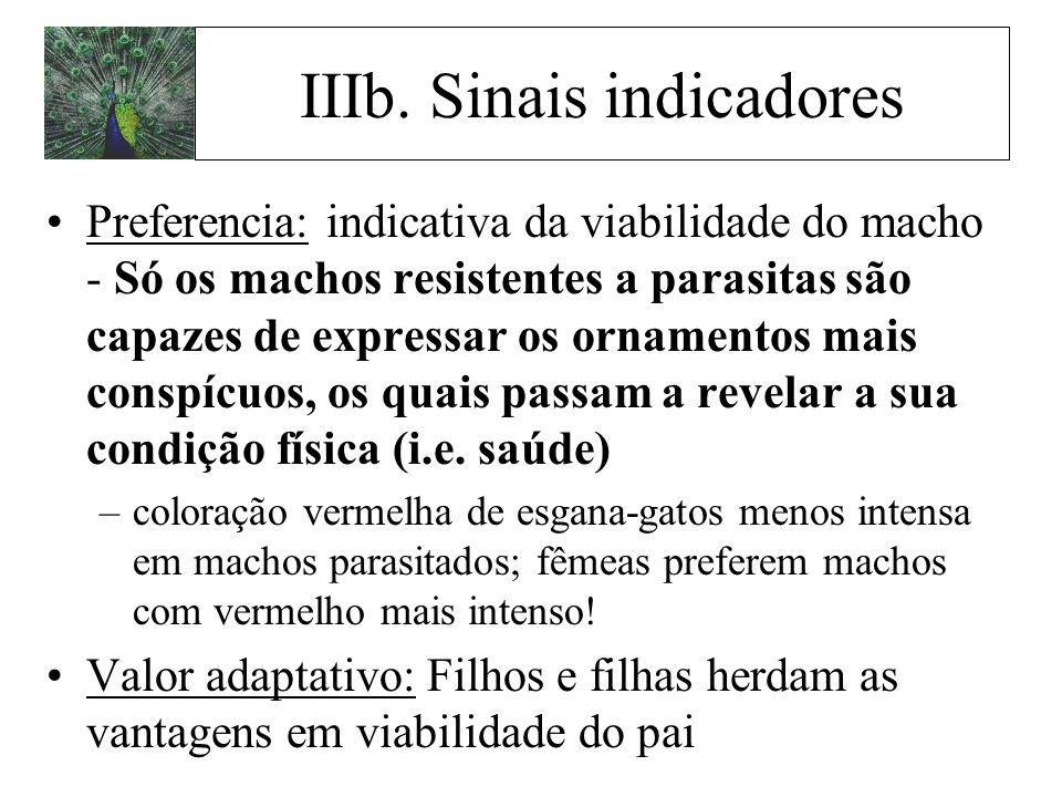 Preferencia: indicativa da viabilidade do macho - Só os machos resistentes a parasitas são capazes de expressar os ornamentos mais conspícuos, os quai