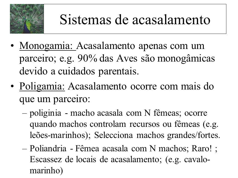 Monogamia: Acasalamento apenas com um parceiro; e.g. 90% das Aves são monogâmicas devido a cuidados parentais. Poligamia: Acasalamento ocorre com mais