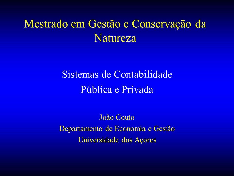 Mestrado em Gestão e Conservação da Natureza Sistemas de Contabilidade Pública e Privada João Couto Departamento de Economia e Gestão Universidade dos