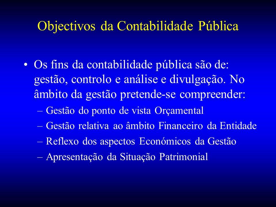 Objectivos da Contabilidade Pública Os fins da contabilidade pública são de: gestão, controlo e análise e divulgação. No âmbito da gestão pretende-se
