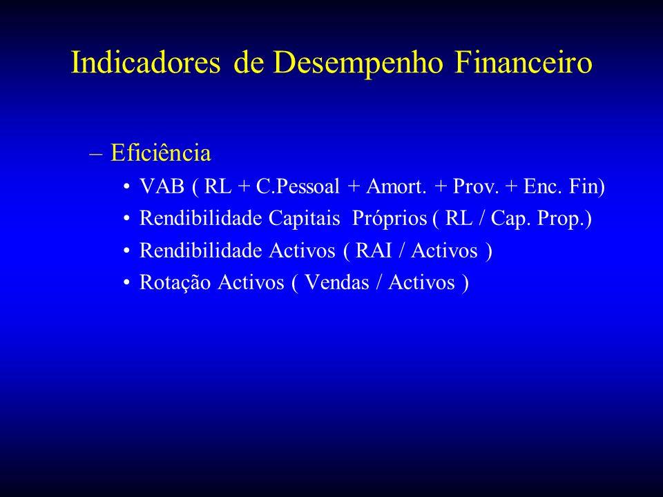 Indicadores de Desempenho Financeiro –Eficiência VAB ( RL + C.Pessoal + Amort. + Prov. + Enc. Fin) Rendibilidade Capitais Próprios ( RL / Cap. Prop.)
