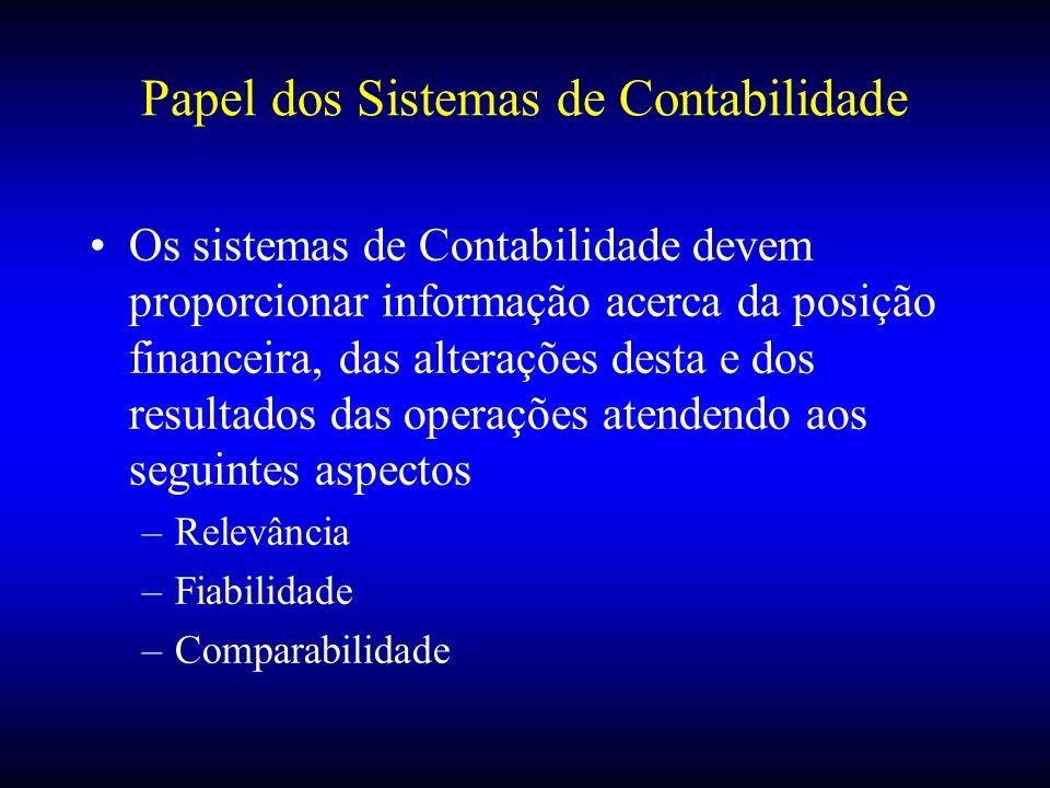 Papel dos Sistemas de Contabilidade Os sistemas de Contabilidade devem proporcionar informação acerca da posição financeira, das alterações desta e do