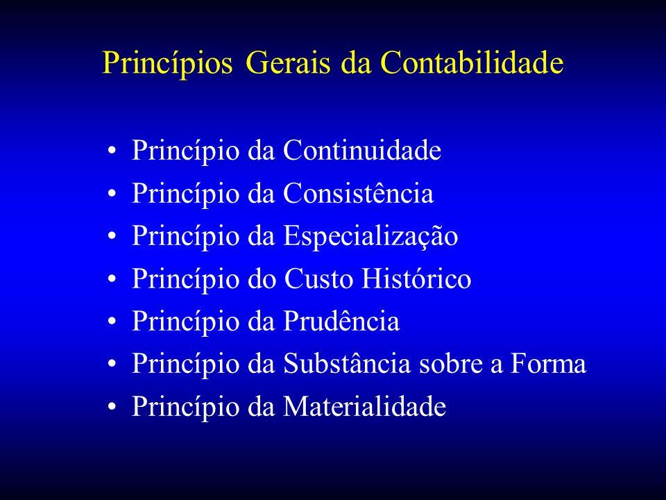 Princípios Gerais da Contabilidade Princípio da Continuidade Princípio da Consistência Princípio da Especialização Princípio do Custo Histórico Princí
