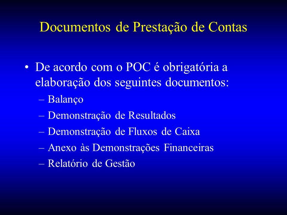 Documentos de Prestação de Contas De acordo com o POC é obrigatória a elaboração dos seguintes documentos: –Balanço –Demonstração de Resultados –Demon