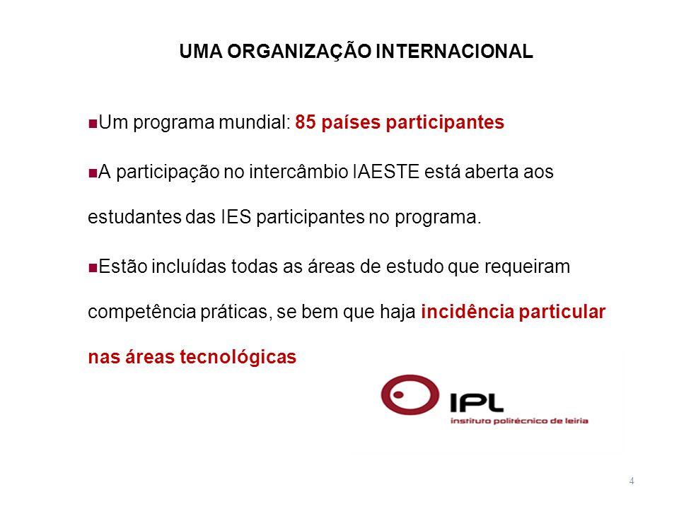 4 UMA ORGANIZAÇÃO INTERNACIONAL Um programa mundial: 85 países participantes A participação no intercâmbio IAESTE está aberta aos estudantes das IES p