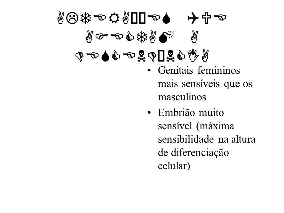 ALTERAÇÕES QUE AFECTAM A DESCENDÊNCIA Genitais femininos mais sensíveis que os masculinos Embrião muito sensível (máxima sensibilidade na altura de di