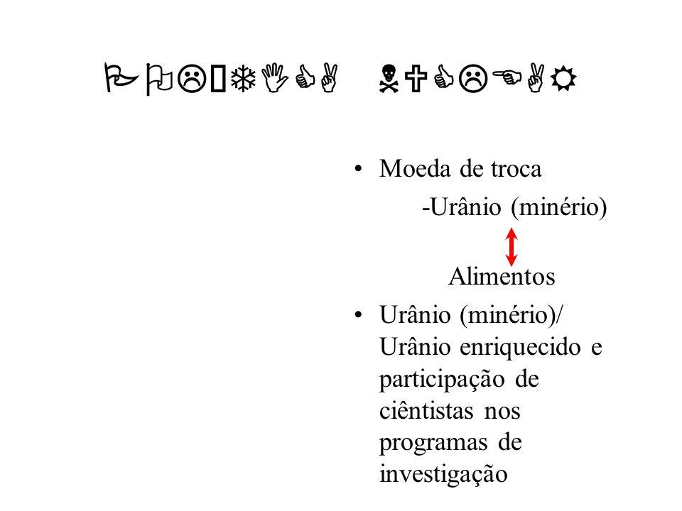 POLÍTICA NUCLEAR Moeda de troca -Urânio (minério) Alimentos Urânio (minério)/ Urânio enriquecido e participação de ciêntistas nos programas de investi