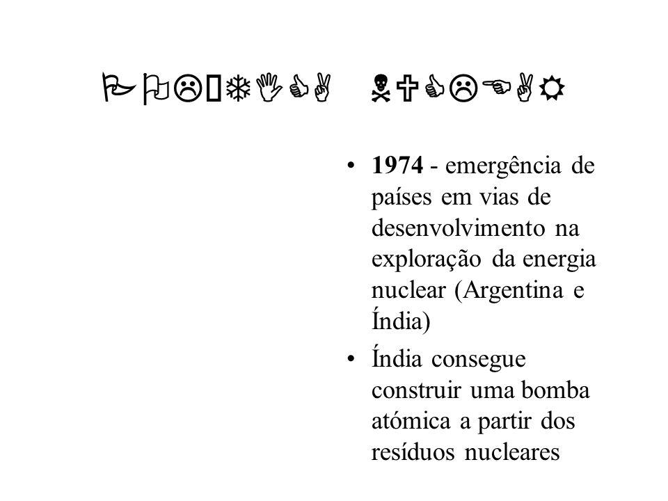 POLÍTICA NUCLEAR 1974 - emergência de países em vias de desenvolvimento na exploração da energia nuclear (Argentina e Índia) Índia consegue construir