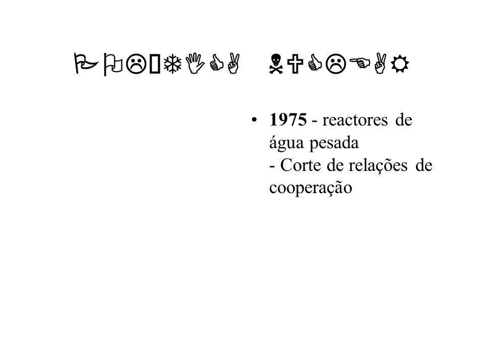 POLÍTICA NUCLEAR 1975 - reactores de água pesada - Corte de relações de cooperação