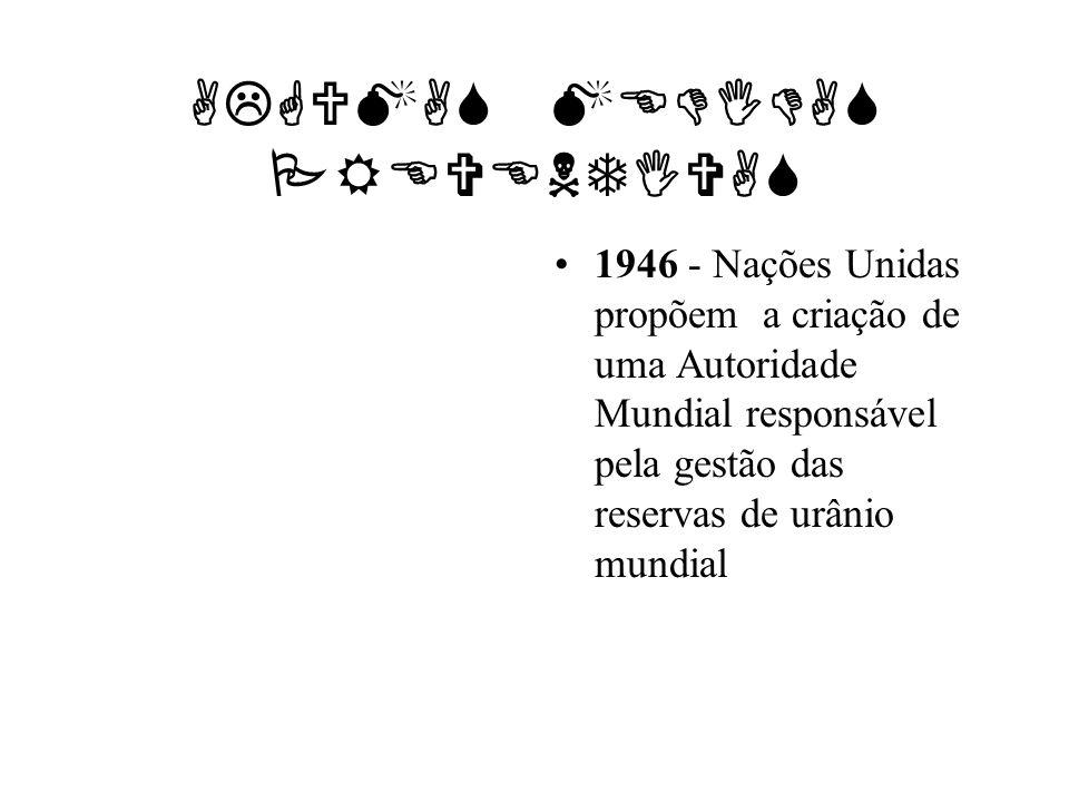 ALGUMAS MEDIDAS PREVENTIVAS 1946 - Nações Unidas propõem a criação de uma Autoridade Mundial responsável pela gestão das reservas de urânio mundial